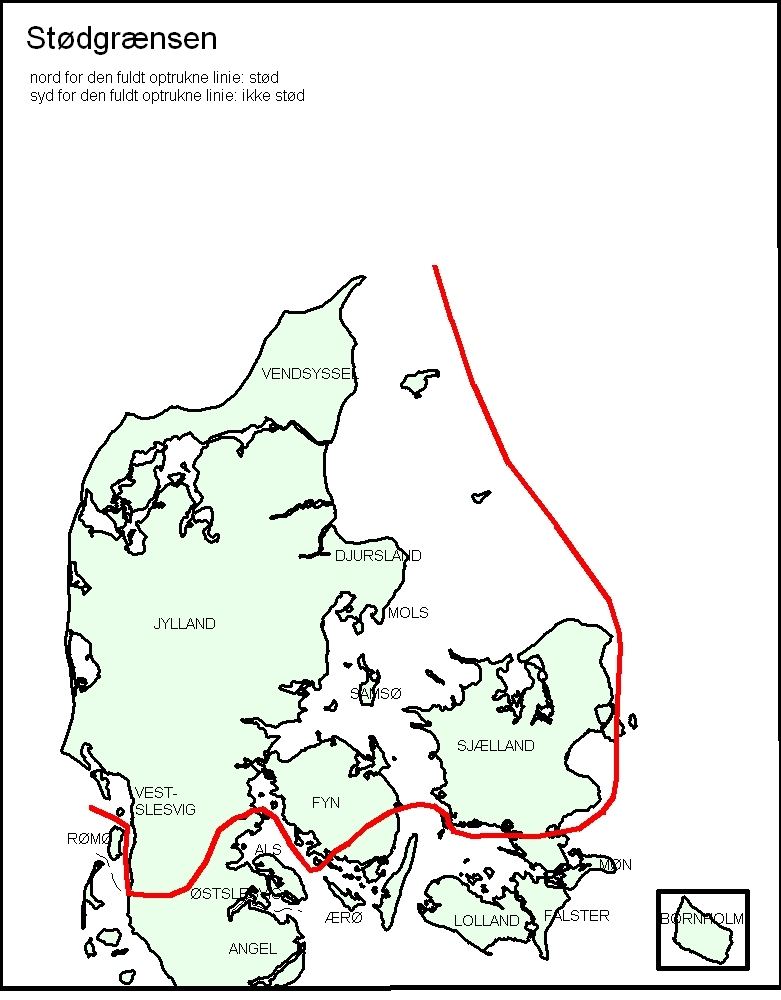 A map of Denmark showing insights into the Danish dialects.