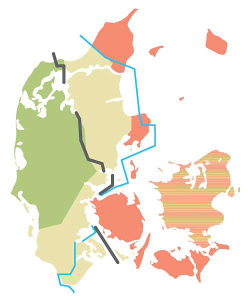 A map of Denmark with the regions for the Danish dialects.